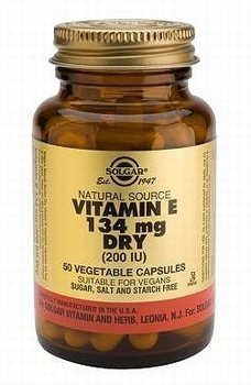 Solgar Dry Vitamin E 134mg (200IU) 50 Vegetable Capsules