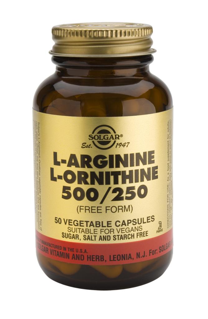 L-Arginine L-Ornithine 500 mg / 250 mg 50 Vegetable Capsules