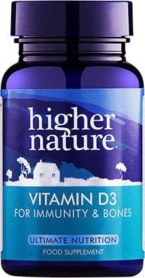 Higher Nature Vitamin D3 500ius 60 gel caps