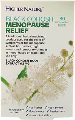 Higher Nature Black Cohosh Menopause Relief 30 coated tabs