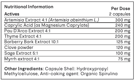 Invivo Bio Clear Microbia GI 60 capsules table